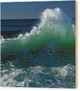 Wave Crashing On Pacific Coast, Oregon Wood Print