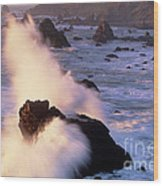 Wave Crashing On Sea Mount California Coast Wood Print