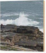 Wave Hitting Rock Wood Print