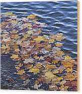Wave Of Fall Leaves Wood Print