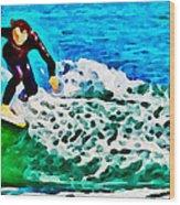 Wave Surfer Wood Print