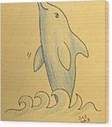 Wave The Suzuki Dolphin Wood Print by Sheri Lauren Schmidt