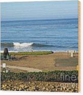 Wave Upon San Simeon Shore Wood Print