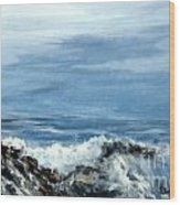 Waves A Crashing Wood Print