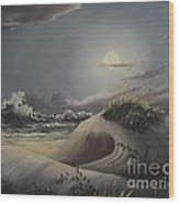 Waves And  Moonlight Wood Print