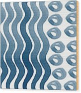 Waves And Pebbles- Abstract Watercolor In Indigo And White Wood Print by Linda Woods