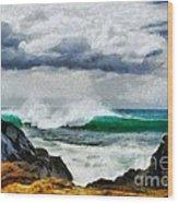 Waves And Rocks Wood Print