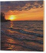 Waves And Shiny Shore Wood Print