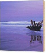 Waves Break On The Beach At Dawn Wood Print