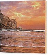 Waves Breaking On Beach At Sunrise Wood Print