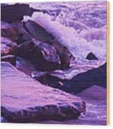 Waves  Breaking  On Jetties  Wood Print
