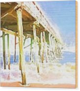 Waves By The Pier Wood Print