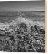 Waves Crashing Bw Wood Print
