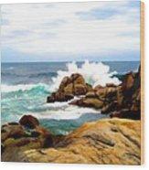 Waves Crashing On Shoreline Rocks Wood Print