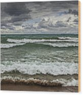 Waves Crashing On The Shore In Sturgeon Bay At Wilderness State Park Wood Print
