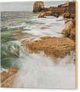 Waves Crashing Over Portland Bill Wood Print