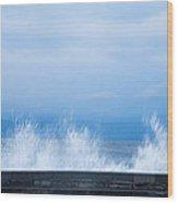 Waves Crashing Over Seawall In Scarborough Wood Print