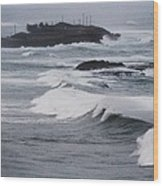 Powerful Waves Coming Ashore In San Juan # 1 Wood Print
