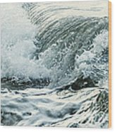 Waves In Stormy Ocean Wood Print