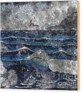 Waves - Ocean - Steel Engraving Wood Print