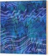 Waves Of Blue - Abstract Art Wood Print
