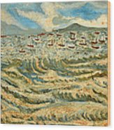 Waves Of Ganga Wood Print