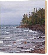 Waves Of Lake Superior Wood Print
