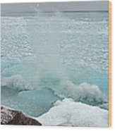 Waves Of Pancake Ice Crashing Ashore Wood Print
