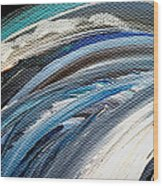 Textured Waves Of Blue Wood Print