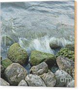 Waves On Mossy Rocks 2 Wood Print