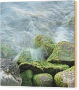 Waves On Mossy Rocks Wood Print