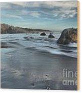 Waves On The Rocks Wood Print by Adam Jewell