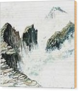 Waves On The Rocks Wood Print