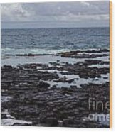 Waves Over  Rocks Wood Print