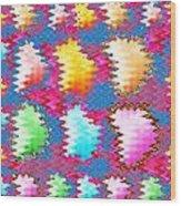 Waves Pattern Crystals Jewels Rose Flower Petals Wood Print