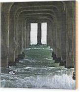 Waves Under The Pier Landscape Wood Print