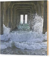 Waves Under The Pier Portrait Wood Print