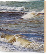 Waves - Wind - Fury Of The Sea Wood Print