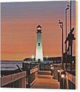 Wawatam Lighthouse Sunrise Wood Print