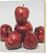 We Are Family - 6 Red Apples - Fresh Fruit - An Apple A Day - Orchard Wood Print