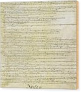 We The People Constitution Page 2 Wood Print