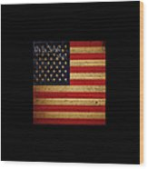 We The People - The Us Constitution With Flag - Square Black Border Wood Print