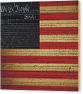 We The People - The Us Constitution With Flag - Square Wood Print