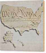 We The People - Us Constitution Map Wood Print