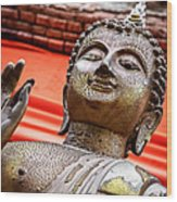 Wear-and-tear Buddha Wood Print by Dean Harte