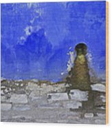 Weathered Blue Wall Of Old World Europe Wood Print