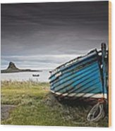 Weathered Boat On The Shore Wood Print