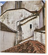 Weathered Buildings Of The Medieval Village Of Obidos Wood Print