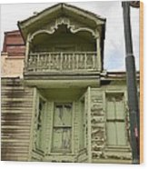 Weathered Old Green Wooden House Wood Print