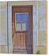 Weathered Rustic Red Wood Door Of Portugal Wood Print